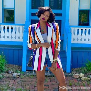 Designer risvolto collo donne cappotto casuale di contrasto delle signore di colore vestiti di autunno delle donne a righe stampato Blazers Fashion