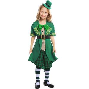 Umorden Çocuk Çocuk Kız Aziz Patrick Günü İrlanda İrlanda Leprikon Elf Kostüm Genç Kız Yeşil Ruh Halloween Costumes için