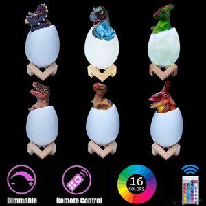 Dinozor gece 2019 Otomobil Mobilya Makaleler ışıkları 3D Dinozor Lambası ve Tap ve Uzaktan Kumanda ile Light LED 16 Renkler