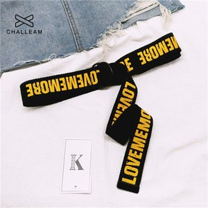 Apparel Accessories Love Me More Women Harajuku Belt Red Letter Printed Fashion Unisex Double D Ring Canvas Strap Female Long Belts For