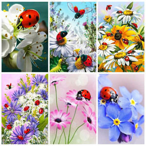 2020 5d Flowers Diamond Painting Full Drill Round Picture Of Rhinestones Diamond Embroidery Ladybug Home Decoration Gift