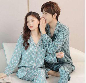 Womens Silk Satin Pyjamas Set Long Sleeve Sleepwear Pijama Suit Men Women Sleep Two Piece Set Loungewear Couple Home Suit