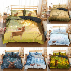 Homesky 3D Deer Bedding Set Luxury Soft Duvet Cover King Queen Twin Full Single Double Bed Set Pillowcases Bedclothes