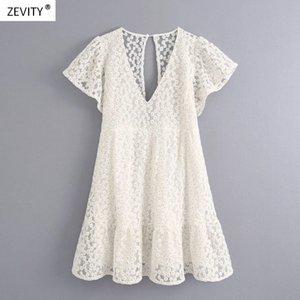 Zevity neuen Frauen süße Blumenstickerei beiläufige dünne Spitzenkleid weiblichen backless Innenhose vestido chic DS4000 Rüschen Kleider