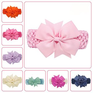 Lovely Baby Ribbon Hair Bow Band Infant Solid Candy Color Bowknot HeadBand Soft Elastic Headwear Accessories For Girls Party 01