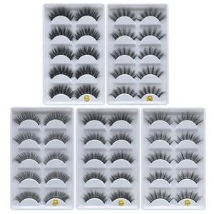 5 çift Vizon Kirpikleri 3D Yanlış Kalın crisscross Makyaj Kirpik Uzatma Doğal Hacim Yumuşak Sahte Göz Lashes kirpikleri