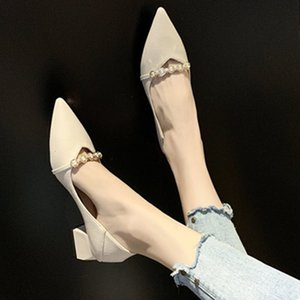 Fashion Pumps Shoes Women Size 34-40 Summer 2020 Casual Office Basic Shoes Pointed Toe Low Heels Chunky Single High Heel