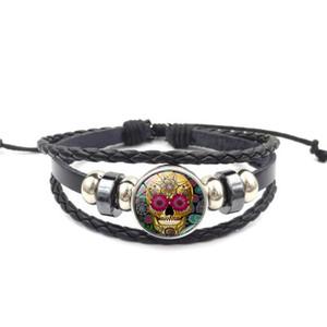 Botão Snap Multilayer Leather Bracelet 18MM Flor do crânio corda trançada jóia de vidro cabochão Ginger snap Charme Enrole Pulseiras Vintage