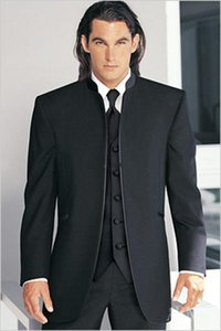 Groomsmen Black white Groom Tuxedos Mandarin Lapel Best Men Bridegroom Wedding Prom Dinner Suits (Jacket+Pants+Tie+Vest) Custom Made