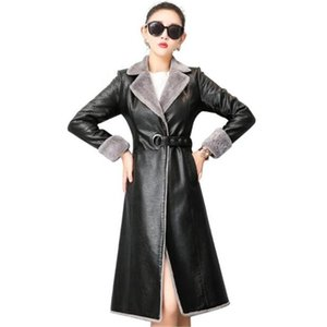 2020 New Women Long Jacket Leather Coat Woman Winter Long Sleeve Suede Fur Jacket Women High quality Warm Motorcycle Jacket G879