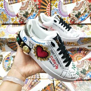 2020 novos homens e mulheres de design sapatos casuais casal D forma graffiti sapatos casuais G planas sapatilhas confortáveis de cor, tamanho 35-45