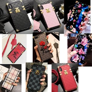 Cas de téléphone de luxe Designer Fashion pour iPhone X XR XS Max 8 7 6 6 s Plus S9 S10 Note 9 10 Plus cuir Soft Shell peau Hull String 508