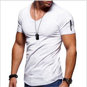 Mens T-shirt 2019 Explosion Models Large Size V-Neck Stretch Solid Color Short-Seeved Mens Fashion Youth Slim-fit T-shirt