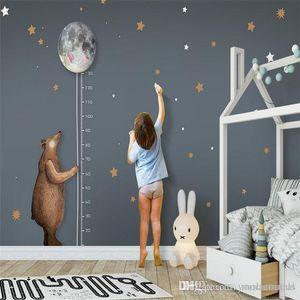 custom photo wallpaper high quality non-woven Nordic simple cartoon bear moon measurement height children room background wall