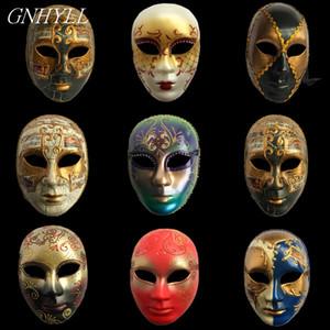 GNHYLL Carnaval masques vénitiens main face peinte à des adultes italiens Homme / femme masque treillis décoration d'Halloween