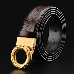 2017 nueva Ciartuar cinturón de marca de alta calidad de lujo del cuero genuino para los hombres pantalones de latón primera capa de piel de vaca hebilla del envío libre
