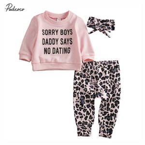 2019 Marken-Baby-3Pcs Neugeborenes Baby-Leopard-T-Shirt Brief Tops + Long Pants + Stirnband Herbst Outfits Kleidung Lässige Set