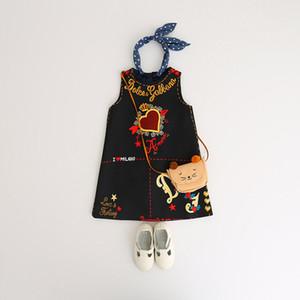 2019 muchachas del vestido del INS estilos calientes amor del corazón del día Impreso una línea de vestido de la princesa de los vestidos del bebé de los niños del diseñador del verano sin mangas de San Valentín