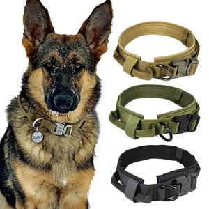 Collar de perro manija ajustable de nylon táctica militar perros de control collares collar de perro doméstico del gato Formación caza al aire libre Y200515 Correa