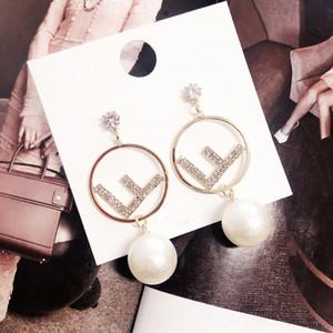 Нежные серьги FF с жемчугом Фирменные серьги для женщин Модные серьги с серебряной иглой S925 Подарок ювелирных изделий
