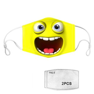 Custom Printed Cool Cartoon Designer Dust Earloop Face Masks With Design and 2pcs Disposable Face Mask PM2.5