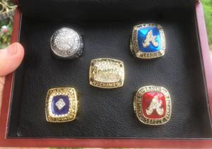 Atlanta 1991 1992 1995 1996 1999 Brave anillo de campeonato del equipo de béisbol de Campeones con el rectángulo de madera del regalo del recuerdo de los hombres al por mayor del ventilador 2020