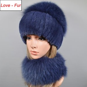 2 Pieces Set Hot Sale Winter Women Real Rex Rabbir Fur Scarf Hat Warm Real Fur Cap Ring Shawl Natural Scarves Hats