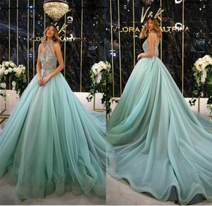 New Arrvial 2020 Luxury Mint Tulle Evening Dresses High Neck Beaded Lace A Line Prom Dress Party Wear Sweep Train Long Formal Gowns
