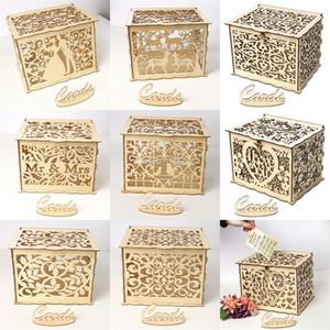 Diy Madera Casarse Caja de tarjeta de regalo Caja de tarjeta de felicitación de boda Iniciar sesión Cajas de tarjeta Venta caliente con varios patrones 19 5jm2 J1