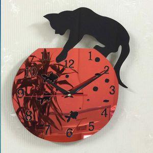 Umweltfreundlich Quarz-Uhr-Cat Wanduhr Acryl Spiegel Reloj Pared Horloge Nadel DIY Uhren-Dekor-moderne Uhren 3D Aufkleber