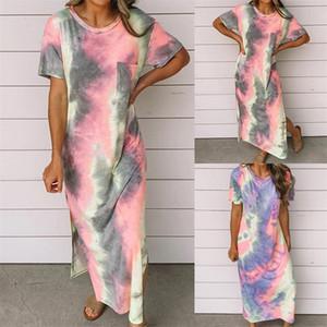 Womens Designer Robes Fashion Tie Dye lambrissé Casual Robe loose à manches courtes de couleur naturelle Crayon Robes