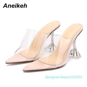 Aneikeh Pointed end Flip Flops Shoes Woman Slippers PVC peep-toe Slip-on Perspex Heel Stilettos High Heels Lady Fashion Pumps d01