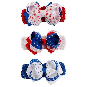 Baby Baby Girls stars Bow Headbands Children American Flag Wide Bowknot Kids Elastic Hairbands Hair Accessories