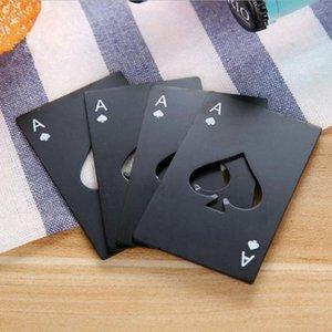 Negro/plata Poker tarjeta espadas botella de cerveza abridor personalizado botella de acero inoxidable abridor barra herramienta
