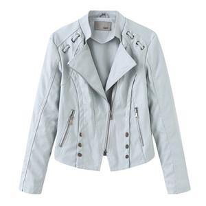 cavalo chama 2019 Primavera Outono PU Leather Jacket Mulheres Macio falso casaco de couro preto short slim revestimentos da motocicleta