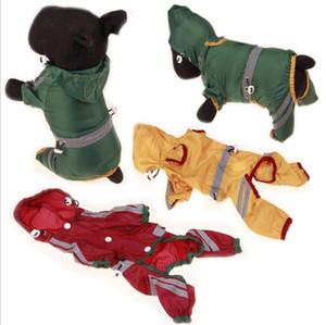 Köpek Yağmurluk Pet Koruyucu Yansıtıcı Şeridi Küçük Kedi Köpek Hood Yağmur Coat Giyim Küçük Köpekler YP449 ile su geçirmez ceket elbise