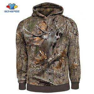 SONSPEE mode Streetwear Sweat à capuche manches longues Hommes Femmes Casual Pull Camo Chasser Elk 3D Zip Sweats à capuche Hoody