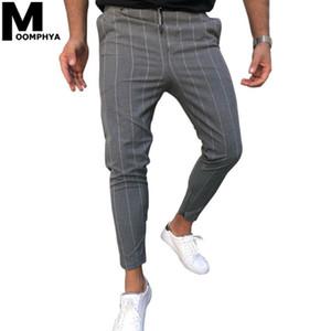 Moomphya 2020 Мужская одежда Stripes повседневные брюки Joggers Мужчины Тощий Длинные брюки летние брюки Тонкий Уличная