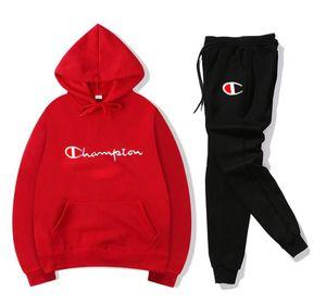 De los hombresCHAMPION portswear otoño moda casual de manga larga de dos piezas de chándal para mujer con capucha ropa deportiva para correr otoño y trous