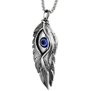 Stainless Steel Jewelry Demon Eye Wing Feather Pendant Necklace Blue Eye Evil Men's Necklace Sweater Chain
