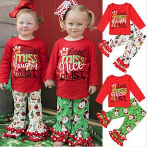 Bébé Christmas Vêtements Girls Xmas À manches longues Tops Clochettes Ensembles de vêtements de Noël Lettre de Noël T-shirt Pantalon évasé Pantalon Pantalon Convient à D6389