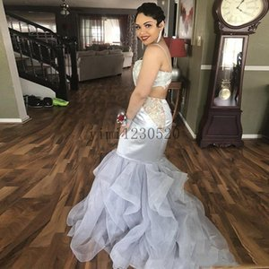 Silver Crystal Mermaid Prom Dresses Spaghetti Backless Sweep Train Cascading Ruffles Lace Beads Long Women Formal Evening Party Gowns