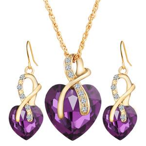 Juego de joyas Gold Gold Shape Forma de corazón Austrian Crystal Pendientes Colgantes Collares Conjuntos Para Mujeres Lady Party Regalo Moda Charm Joyería 6 Colores