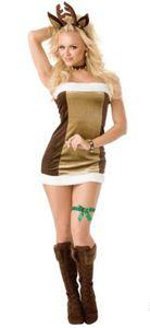 Costumes Sexy magro mangas cervos Cosplay roupas femininas Vestuário de Natal Womens Tema