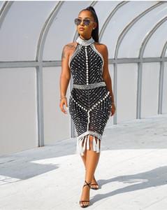 Breve Guaina Cocktail Party Dresses alto collo Hollow indietro mini nappa perle strass Special Occasion vestito delle donne Prom abito da sera
