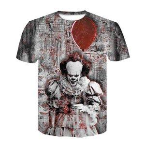 2020 Halloween dramatização palhaço Homens 3D T camisas de verão nova impressão manga curta Men Street Sports hip-hop respirável Marca T-shirt