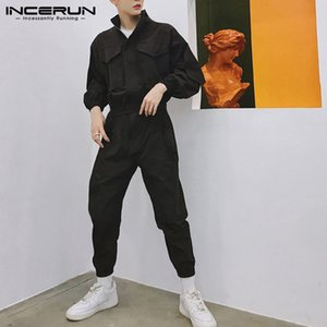 INCERUN 2020 Fashion Men Jumpsuit Joggers Long Sleeve Solid Romper Zippers Cargo Overalls Hiphop Casual Pants Men Streetwear 5XL T200706