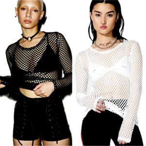 Verano Sexy transparente mujer camiseta malla Fishnet manga larga Top Bikini Cover Up BlackWhite