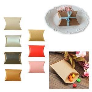 10 unids / set Almohada en forma de papel Kraft Candy Box Gift Home Party Presente Bolsa Sweet Case Colorful Birthday Supply Wedding Favors