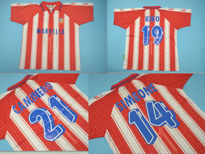 14 # Simeone 19kiko 21 # Caminero Top Quality 1995 1996 Club Atlético Home Retro Jerseys Jersey